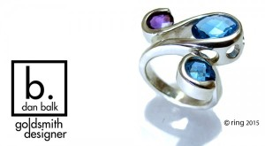 Amethyst and Blue Topaz Sterling Silver Ring by Dan Balk