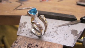 Dan Balk Jewelry Ring with diamonds and triangle blue topaz hand fabrication from raw material process picture