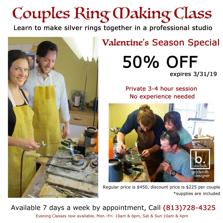 Dan Balk teaches private ring making classes for couples in his studio.