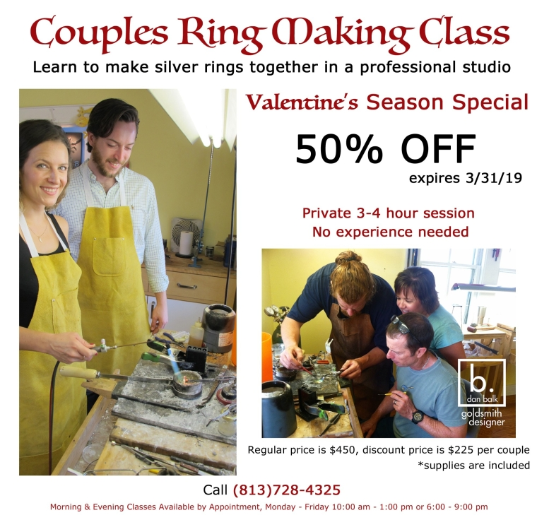 Couples Jewelry Making Class Half off Discount through March 31, 2019