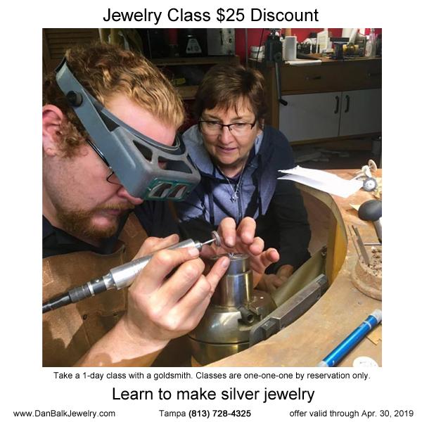 $25 discount, photo of student working with Dan Balk at his jeweler's bench