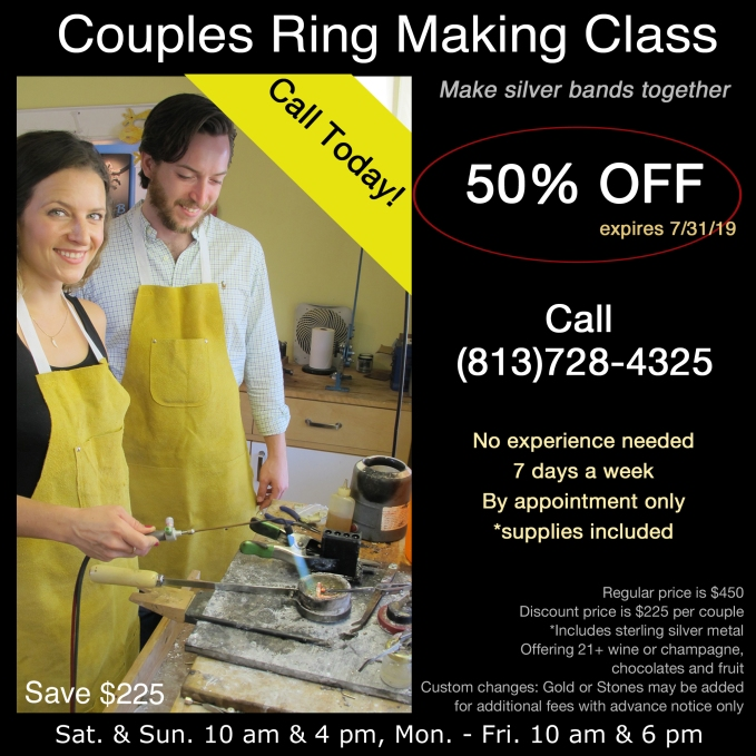 Dan Balk Couples Ring Making Class, Partners hand make sterling silver bands together in a professional jewelry studio