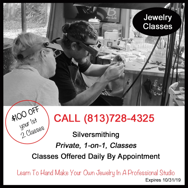 Learn to Make Jewelry With A Professional Jeweler, Get $100 Off Before 10/31/19 When You Buy Your First 2 Silversmithing Classes